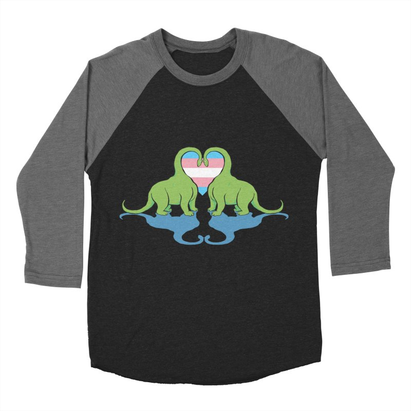 Trans Pride - Dino Love Women's Baseball Triblend T-Shirt by alrkeaton's Artist Shop