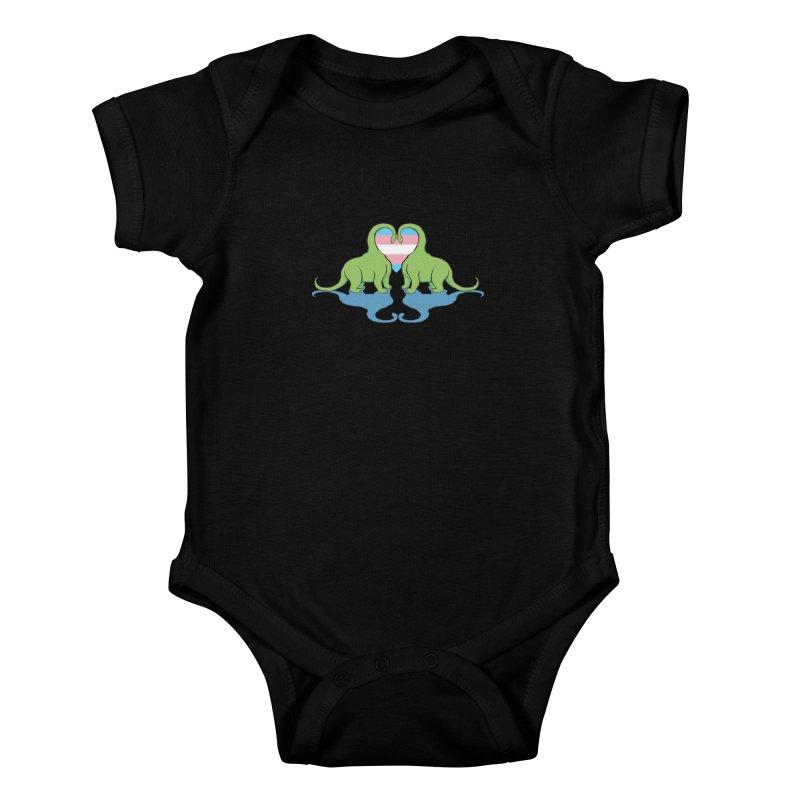 Trans Pride - Dino Love Kids Baby Bodysuit by alrkeaton's Artist Shop