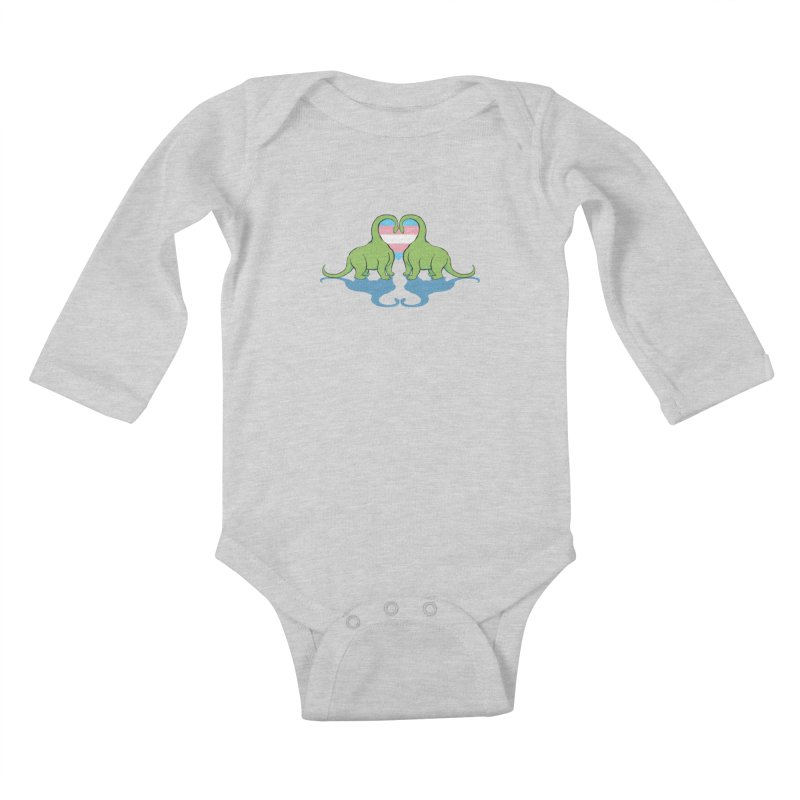 Trans Pride - Dino Love Kids Baby Longsleeve Bodysuit by alrkeaton's Artist Shop