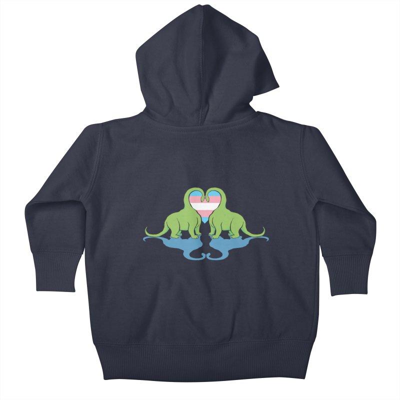 Trans Pride - Dino Love Kids Baby Zip-Up Hoody by alrkeaton's Artist Shop