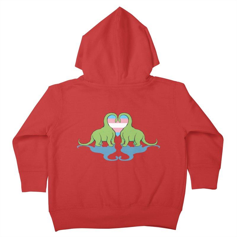 Trans Pride - Dino Love Kids Toddler Zip-Up Hoody by alrkeaton's Artist Shop