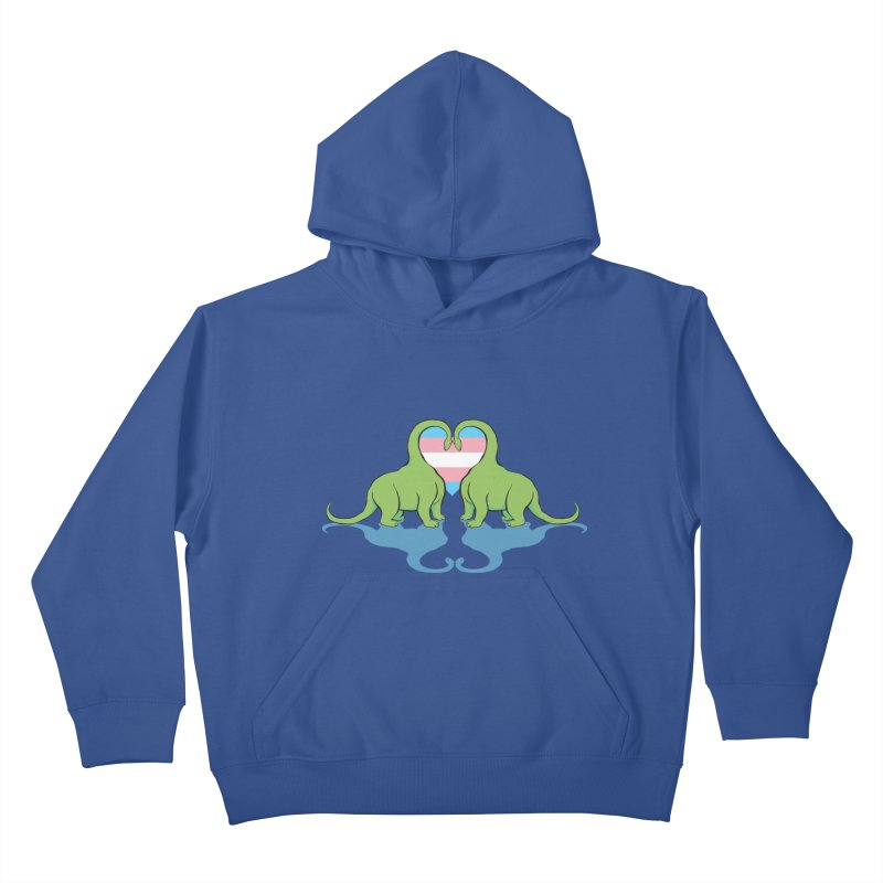 Trans Pride - Dino Love Kids Pullover Hoody by alrkeaton's Artist Shop