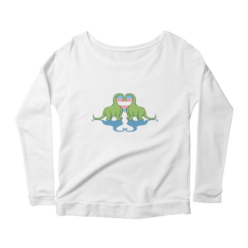 Trans Pride - Dino Love Women's Scoop Neck Longsleeve T-Shirt by alrkeaton's Artist Shop