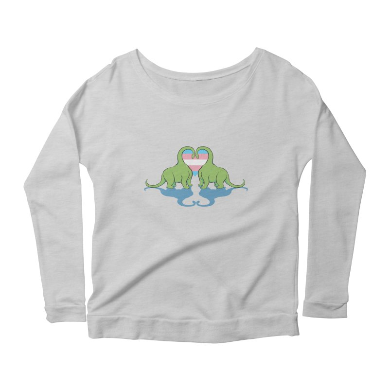 Trans Pride - Dino Love Women's Scoop Neck Longsleeve T-Shirt by alrkeaton's Artist Shop