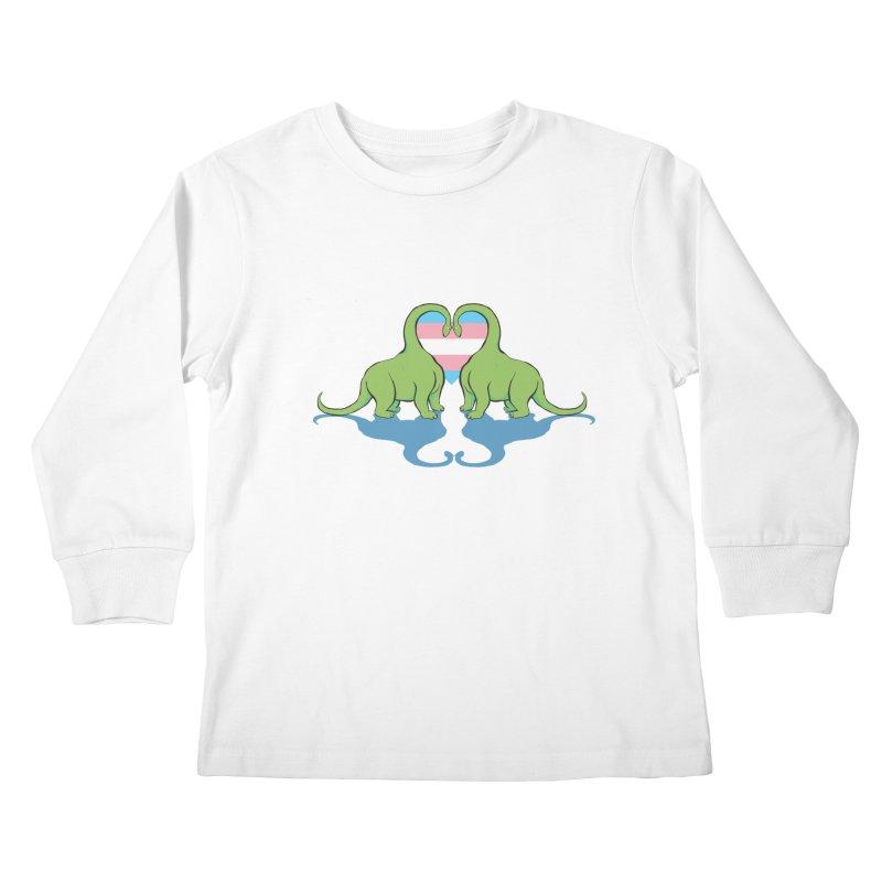 Trans Pride - Dino Love Kids Longsleeve T-Shirt by alrkeaton's Artist Shop
