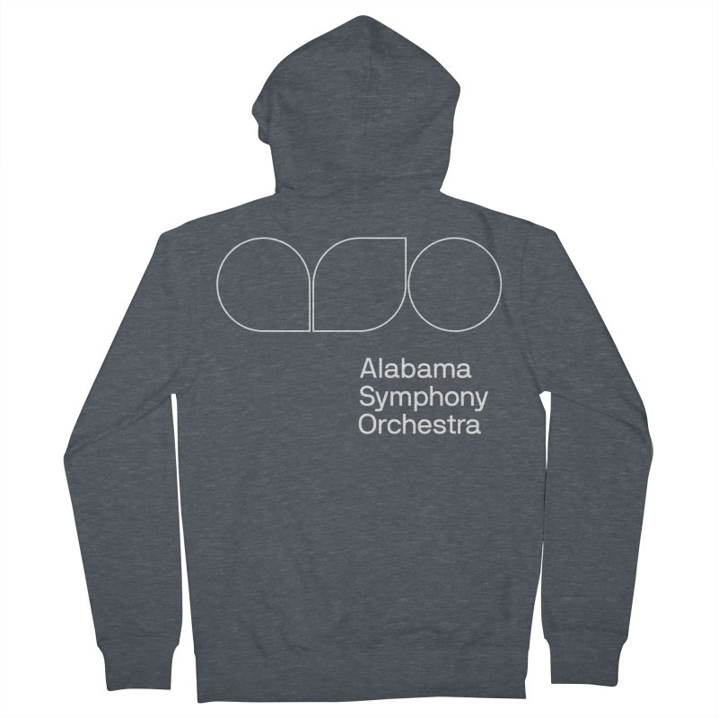 White Outline Women's French Terry Zip-Up Hoody by Alabama Symphony Orchestra Goods & Apparel