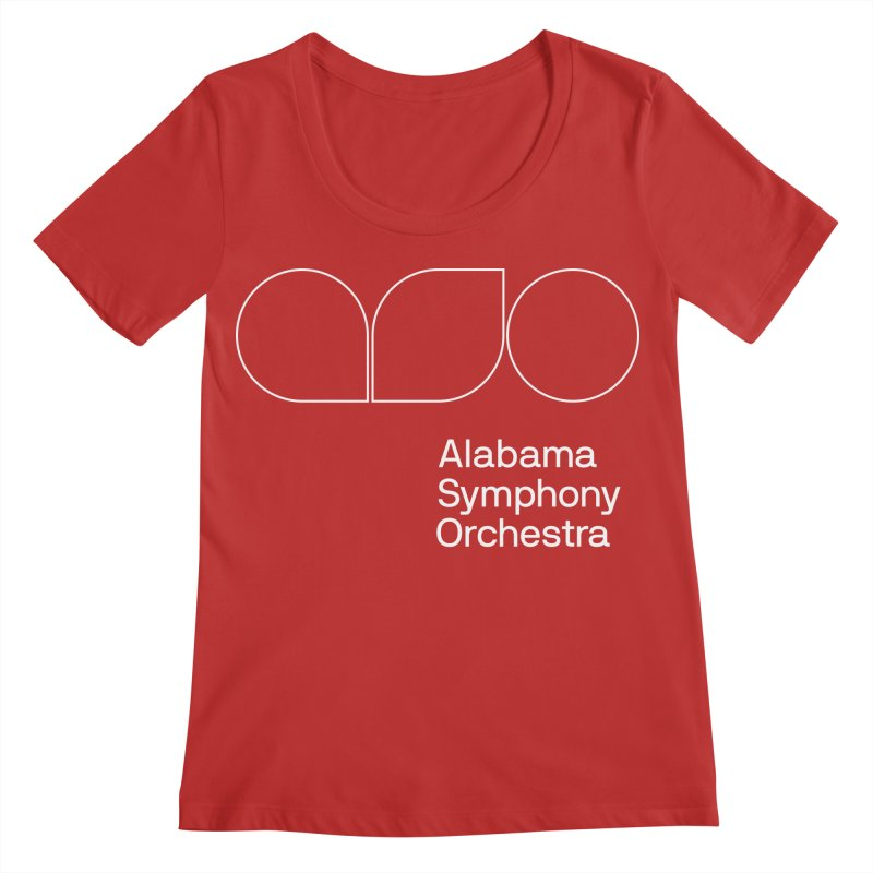 White Outline Women's Regular Scoop Neck by Alabama Symphony Orchestra Goods & Apparel