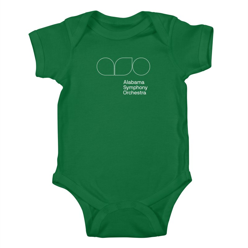 White Outline Kids Baby Bodysuit by Alabama Symphony Orchestra Goods & Apparel