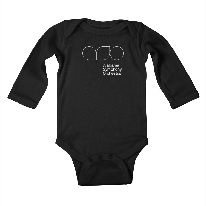 White Outline Kids Baby Longsleeve Bodysuit by Alabama Symphony Orchestra Goods & Apparel