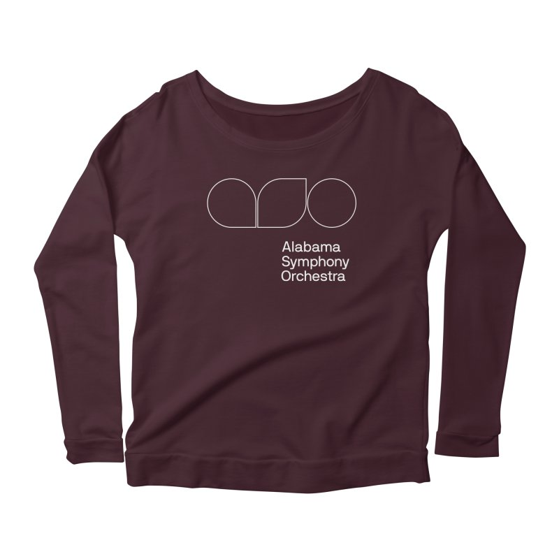 White Outline Women's Longsleeve Scoopneck  by Alabama Symphony Orchestra Goods & Apparel