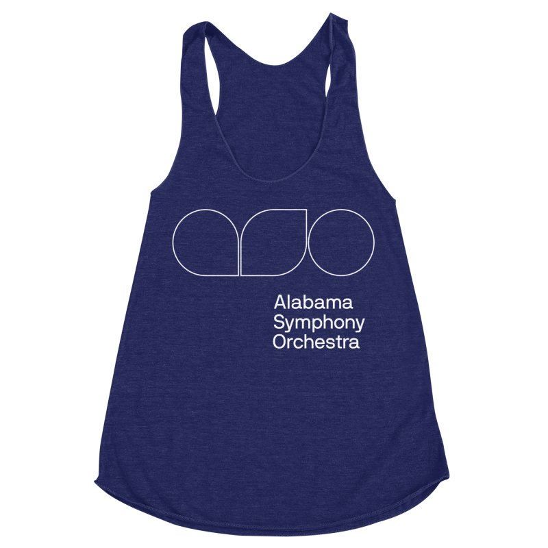 White Outline Women's Racerback Triblend Tank by Alabama Symphony Orchestra Goods & Apparel