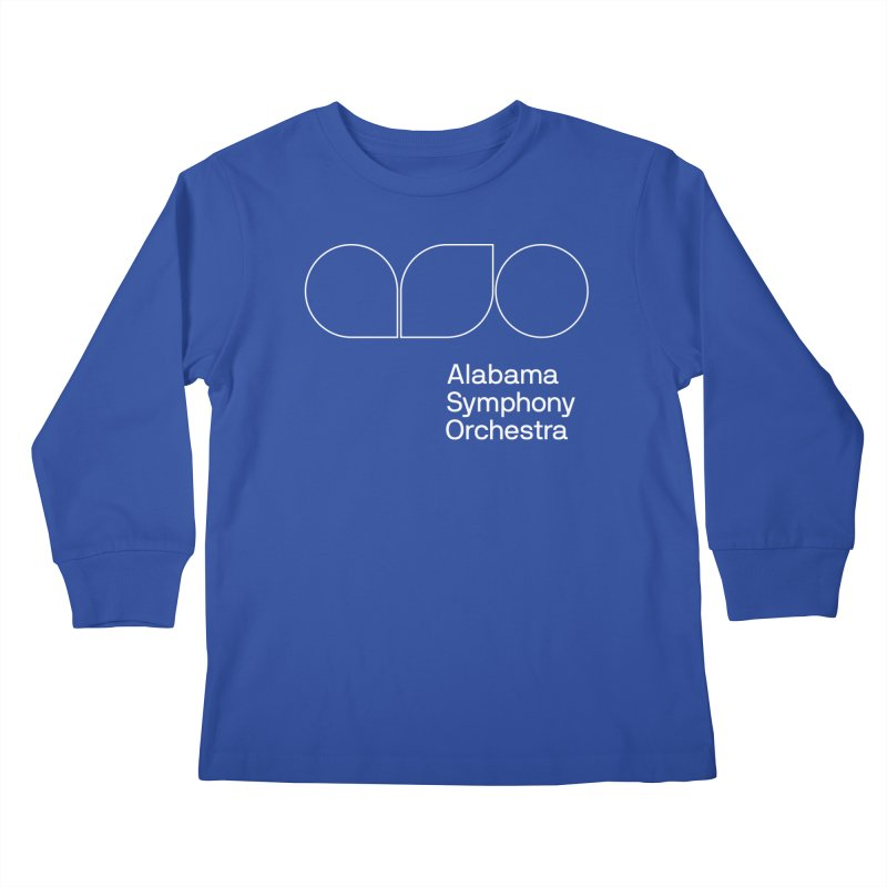 White Outline Kids Longsleeve T-Shirt by Alabama Symphony Orchestra Goods & Apparel
