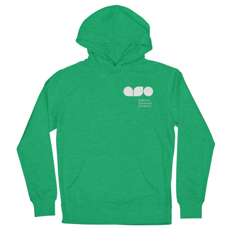 White Logo Left Chest Men's French Terry Pullover Hoody by Alabama Symphony Orchestra Goods & Apparel