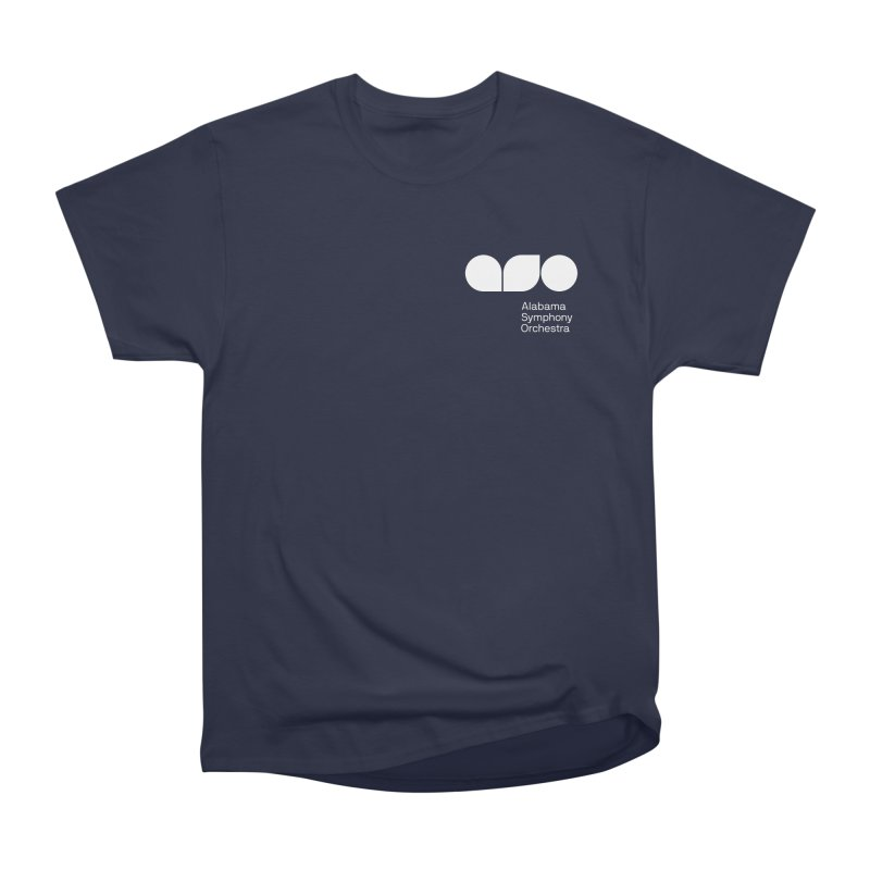 White Logo Left Chest Men's Heavyweight T-Shirt by Alabama Symphony Orchestra Goods & Apparel