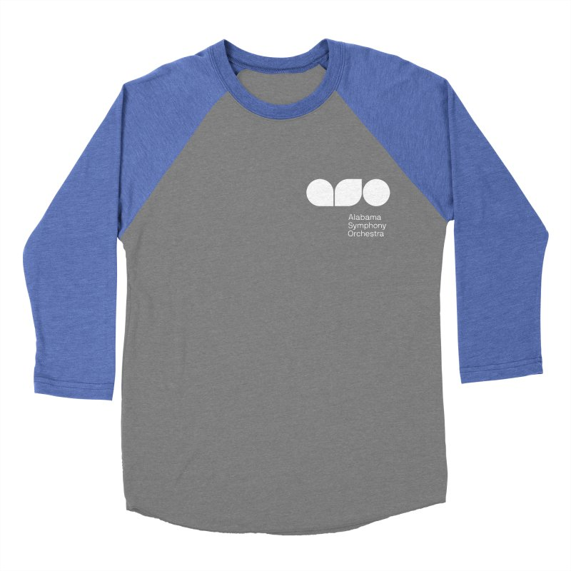 White Logo Left Chest Men's Baseball Triblend Longsleeve T-Shirt by Alabama Symphony Orchestra Goods & Apparel