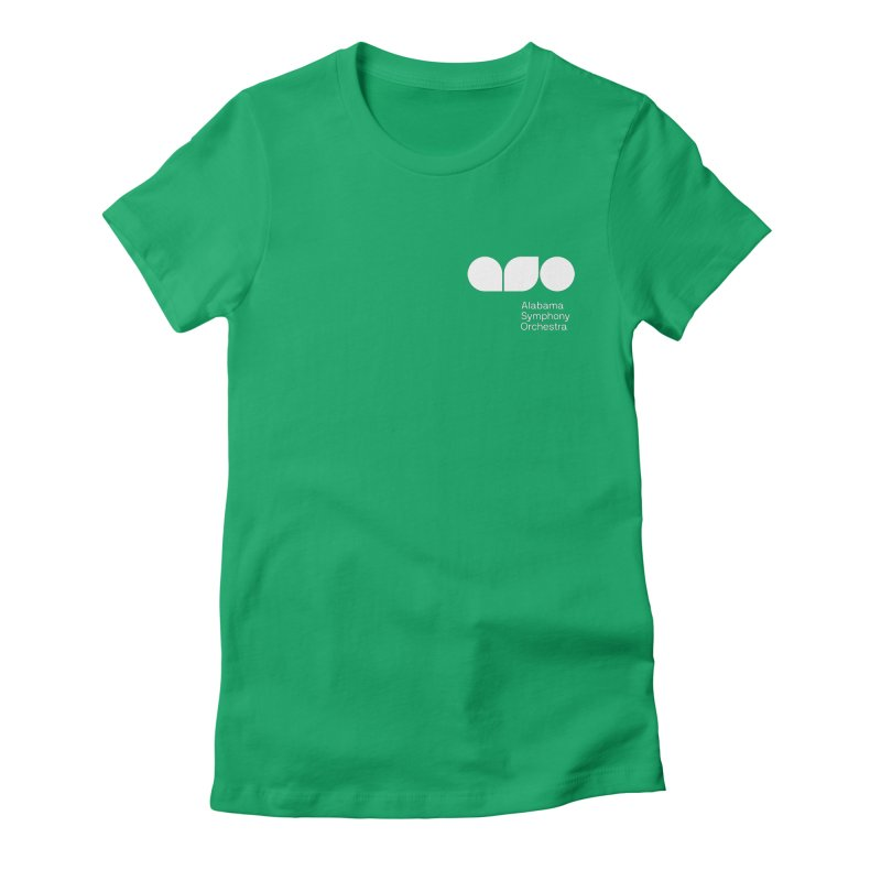 White Logo Left Chest Women's Fitted T-Shirt by Alabama Symphony Orchestra Goods & Apparel