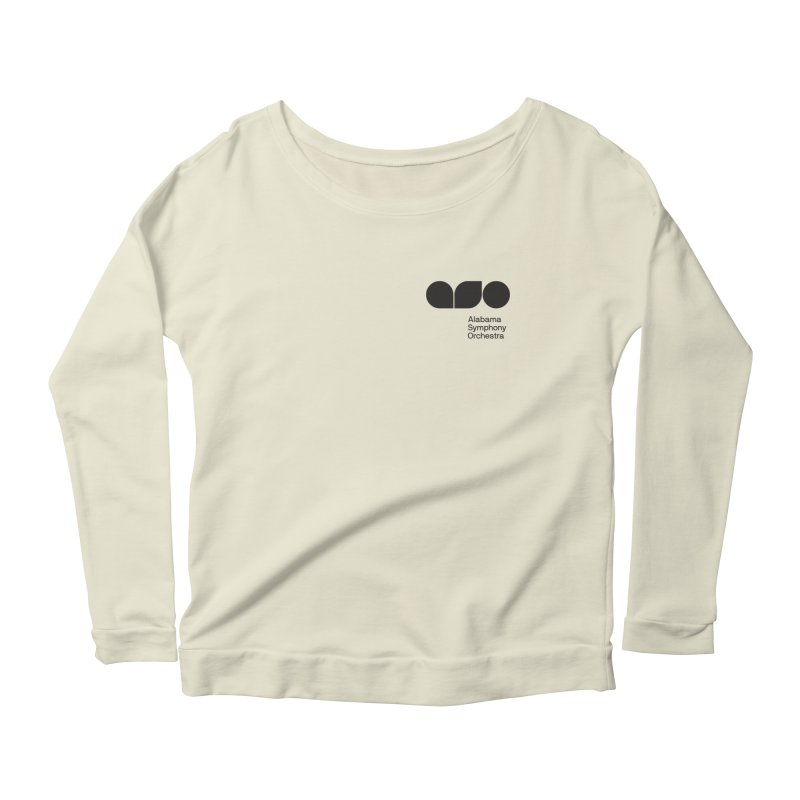 Black Logo Left Chest Women's Scoop Neck Longsleeve T-Shirt by Alabama Symphony Orchestra Goods & Apparel