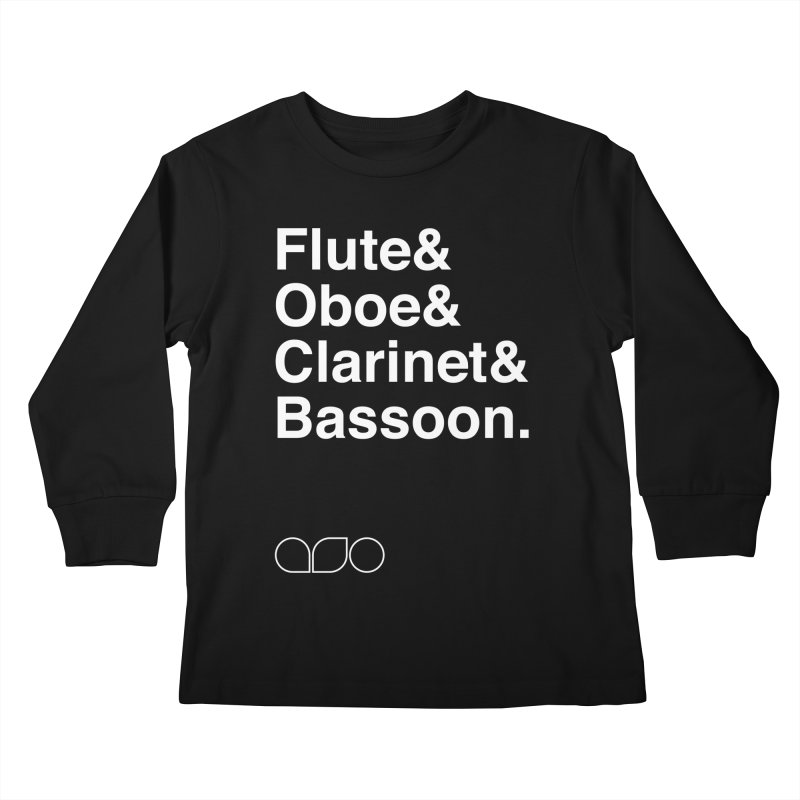 Winds Helvetica Tee Kids Longsleeve T-Shirt by Alabama Symphony Orchestra Goods & Apparel