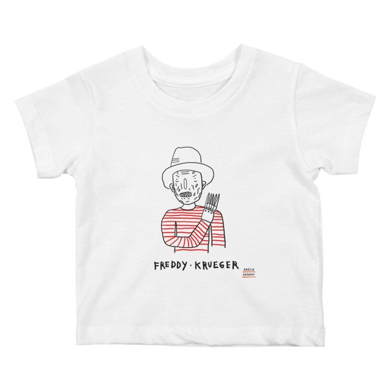Freddy Krueger Kids Baby T-Shirt by Amalia Andrade