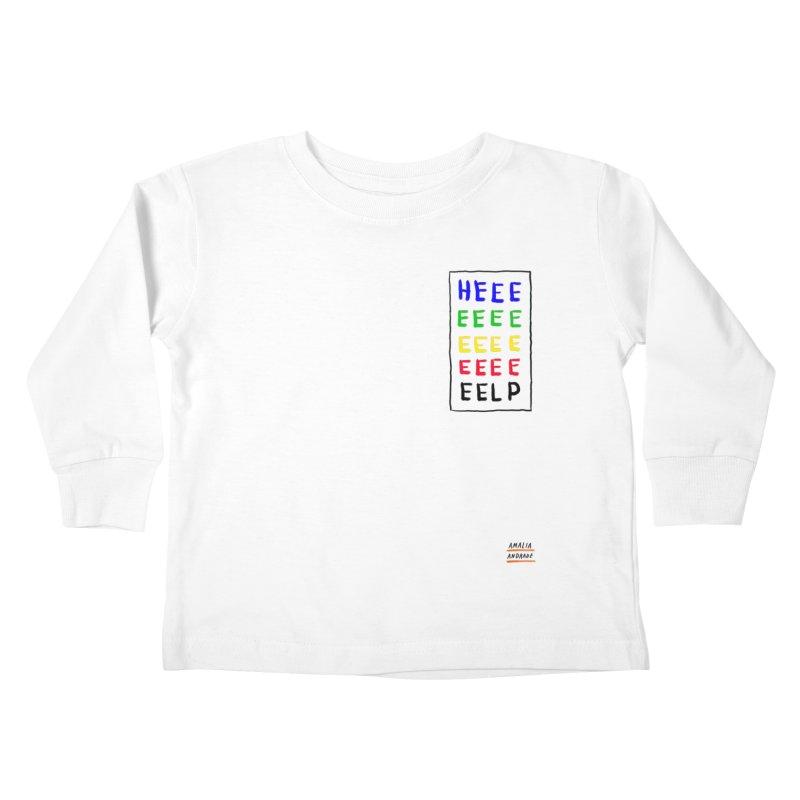HEEEEEEEELP Kids Toddler Longsleeve T-Shirt by Amalia Andrade