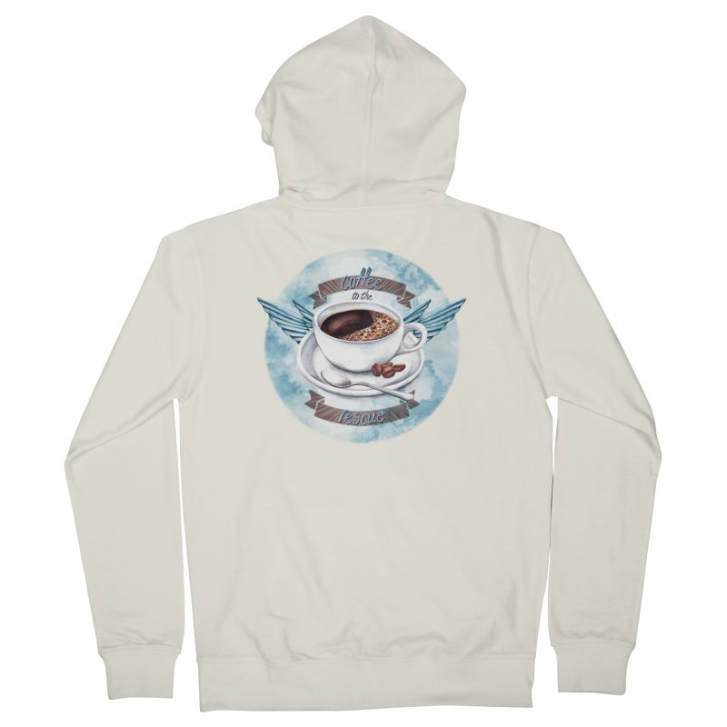 Coffee to the rescue! Men's Zip-Up Hoody by amandadilworth's Artist Shop