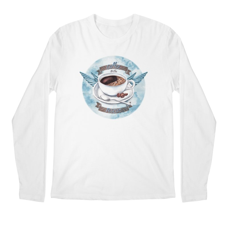 Coffee to the rescue! Men's Longsleeve T-Shirt by amandadilworth's Artist Shop