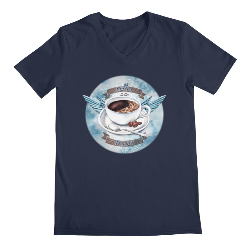 Coffee to the rescue! Men's V-Neck by amandadilworth's Artist Shop