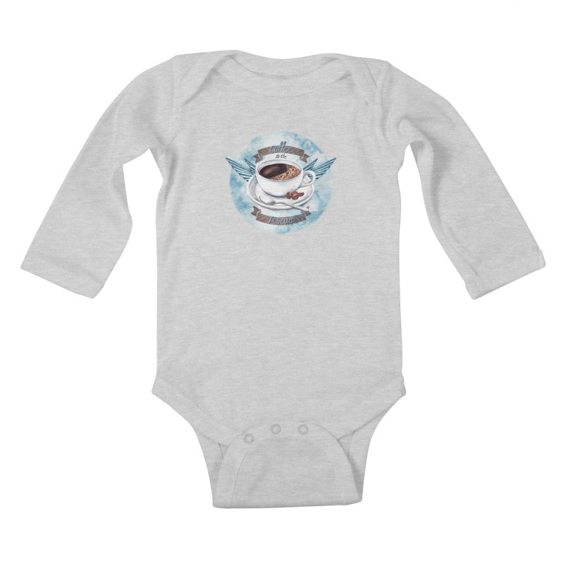 Coffee to the rescue! Kids Baby Longsleeve Bodysuit by amandadilworth's Artist Shop