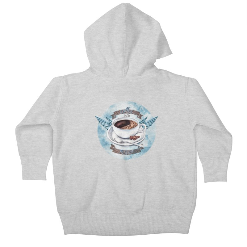 Coffee to the rescue! Kids Baby Zip-Up Hoody by amandadilworth's Artist Shop