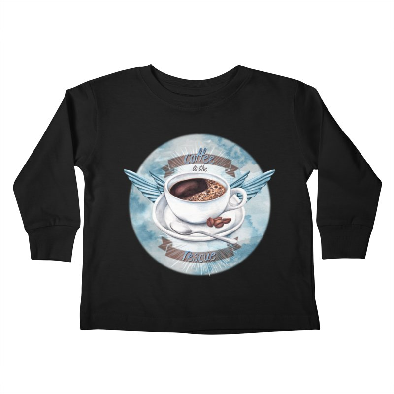Coffee to the rescue! Kids Toddler Longsleeve T-Shirt by amandadilworth's Artist Shop