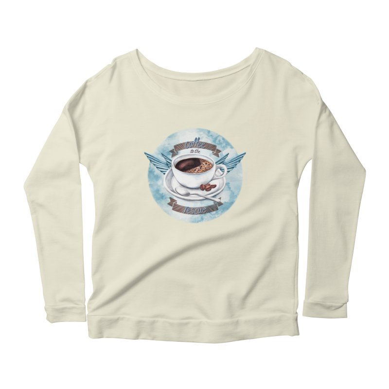 Coffee to the rescue! Women's Longsleeve Scoopneck  by amandadilworth's Artist Shop