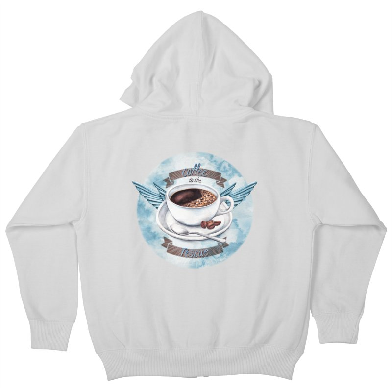Coffee to the rescue! Kids Zip-Up Hoody by amandadilworth's Artist Shop