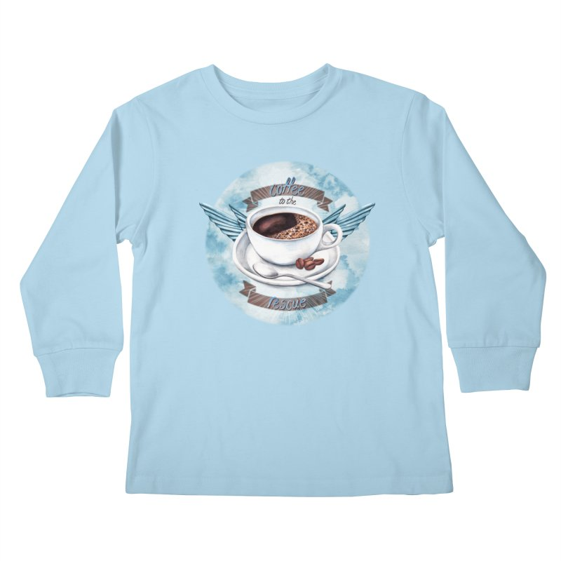 Coffee to the rescue! Kids Longsleeve T-Shirt by amandadilworth's Artist Shop