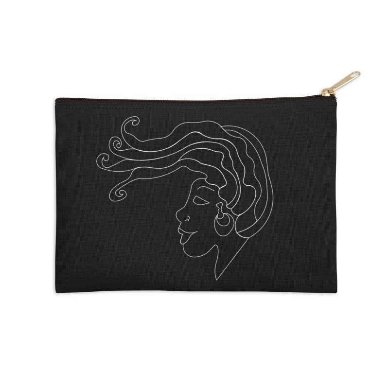 Loc'd In (WHITE INK) Accessories Zip Pouch by Amanda Seales