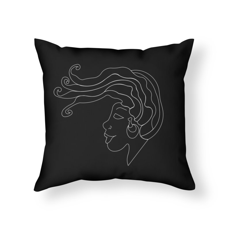 Loc'd In (WHITE INK) Home Throw Pillow by Amanda Seales