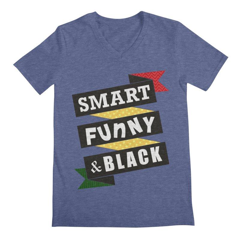 Smart Funny & Black Men's Regular V-Neck by amandaseales's Artist Shop