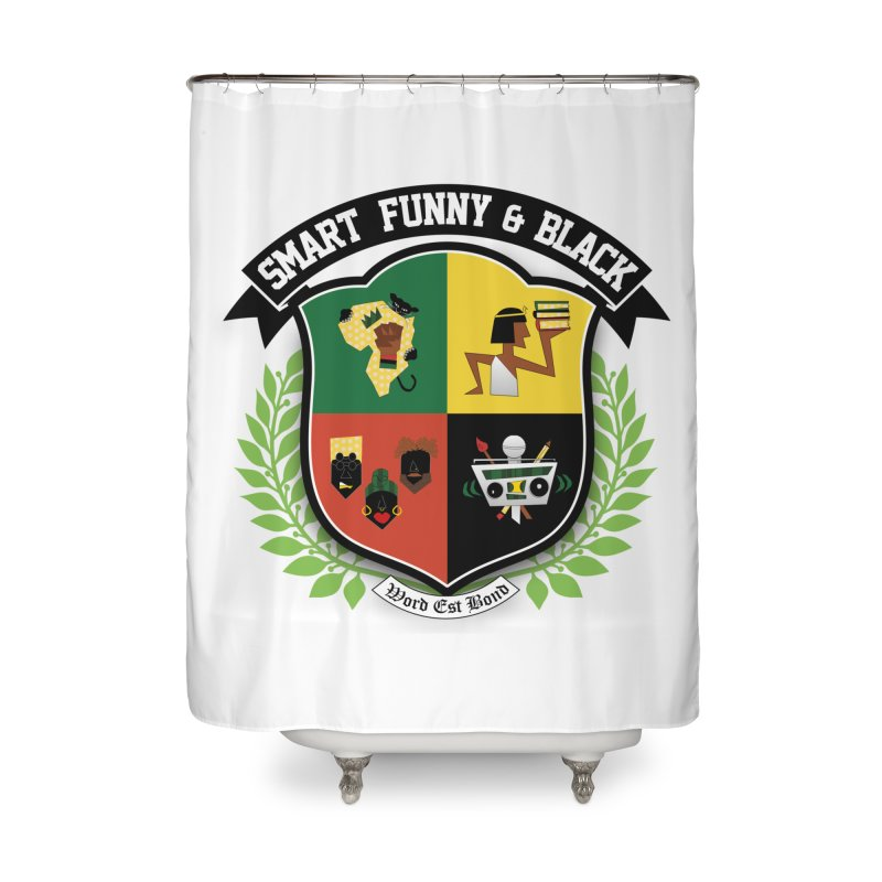 SFB Crest (Black Ink) Home Shower Curtain by Amanda Seales