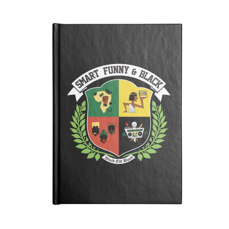 SFB CREST (White Ink) Accessories Lined Journal Notebook by Amanda Seales