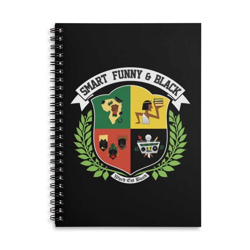 SFB CREST (White Ink) Accessories Lined Spiral Notebook by Amanda Seales