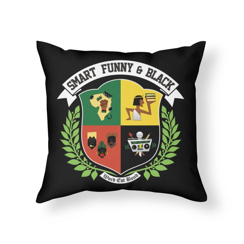 SFB CREST (White Ink) Home Throw Pillow by amandaseales's Artist Shop