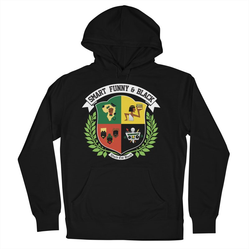 SFB CREST (White Ink) in Women's French Terry Pullover Hoody Black by Amanda Seales