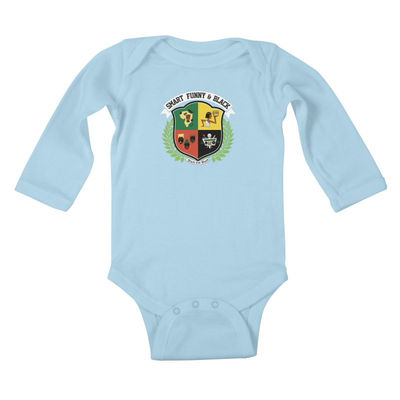 SFB CREST (White Ink) in Kids Baby Longsleeve Bodysuit Powder Blue by amandaseales's Artist Shop