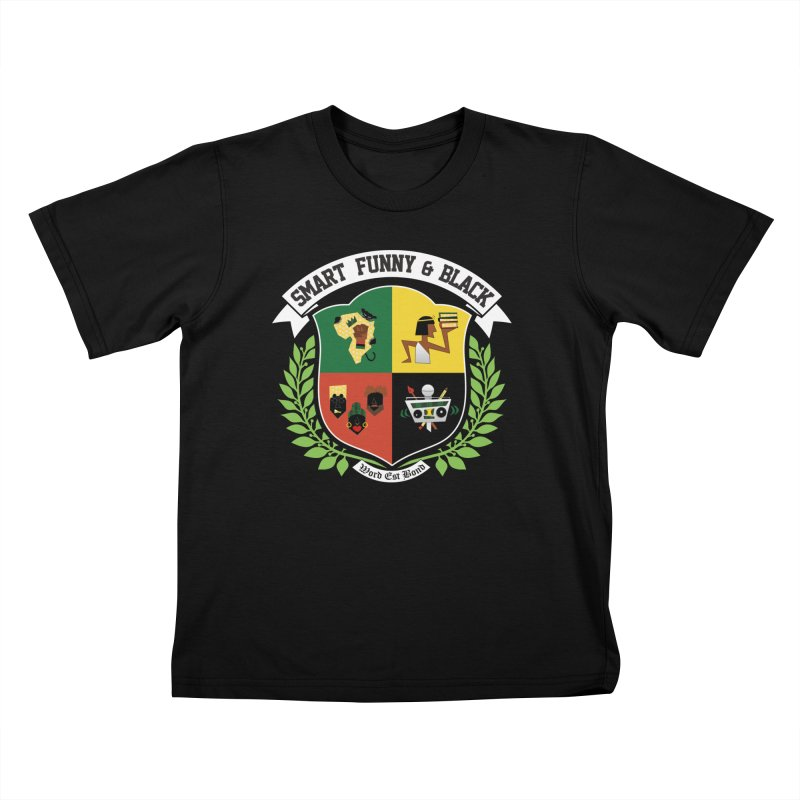 SFB CREST (White Ink) in Kids T-Shirt Black by amandaseales's Artist Shop