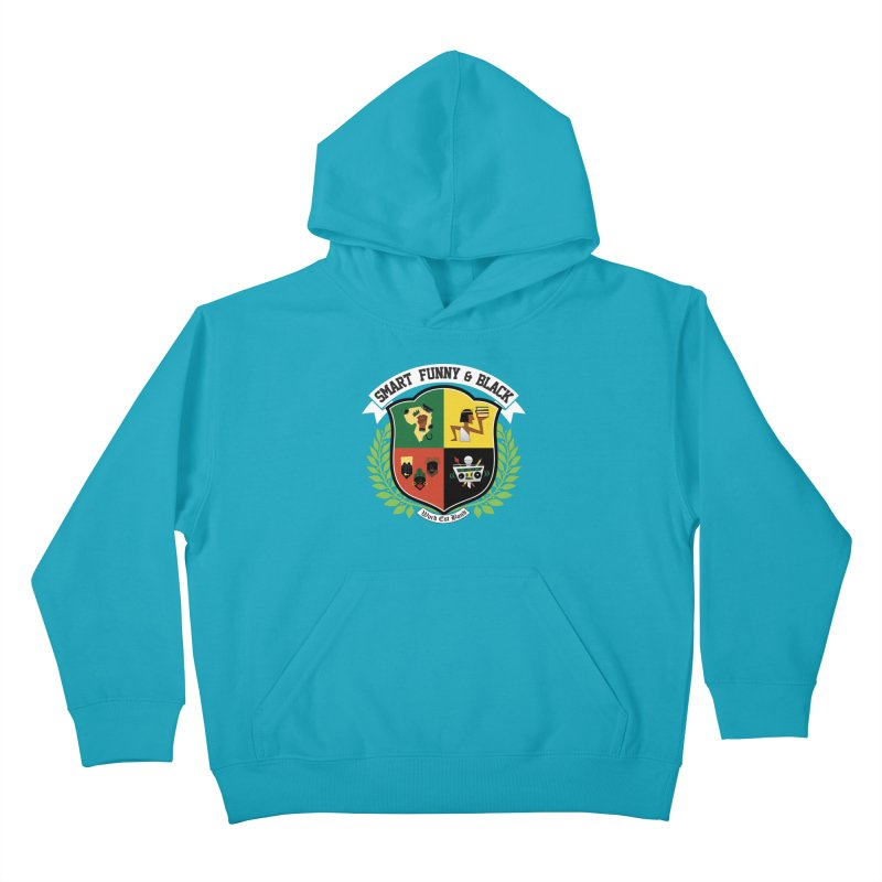 SFB CREST (White Ink) in Kids Pullover Hoody Cyan by Amanda Seales