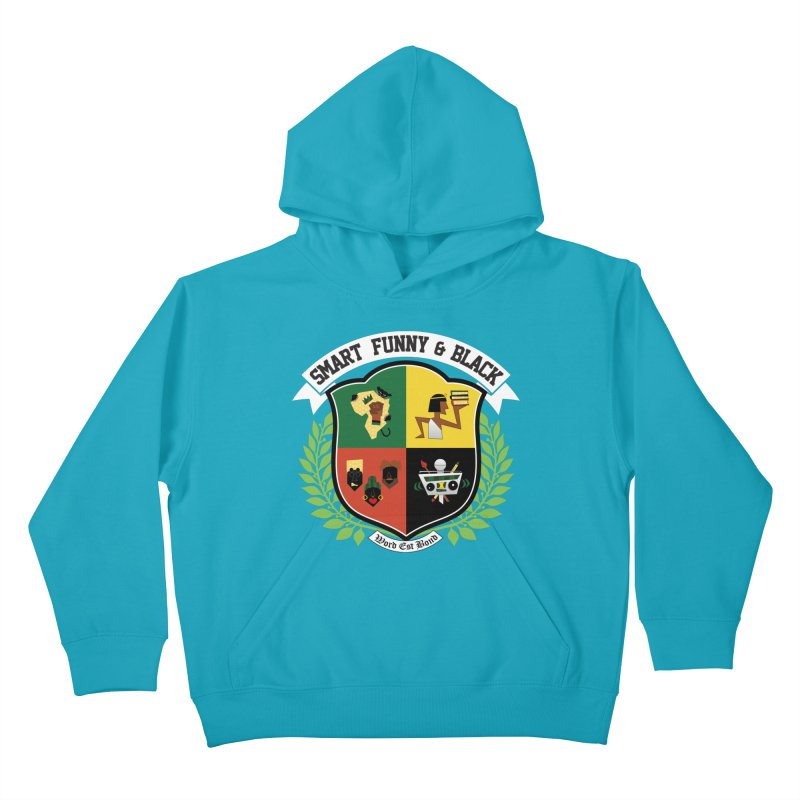 SFB CREST (White Ink) in Kids Pullover Hoody Cyan by amandaseales's Artist Shop