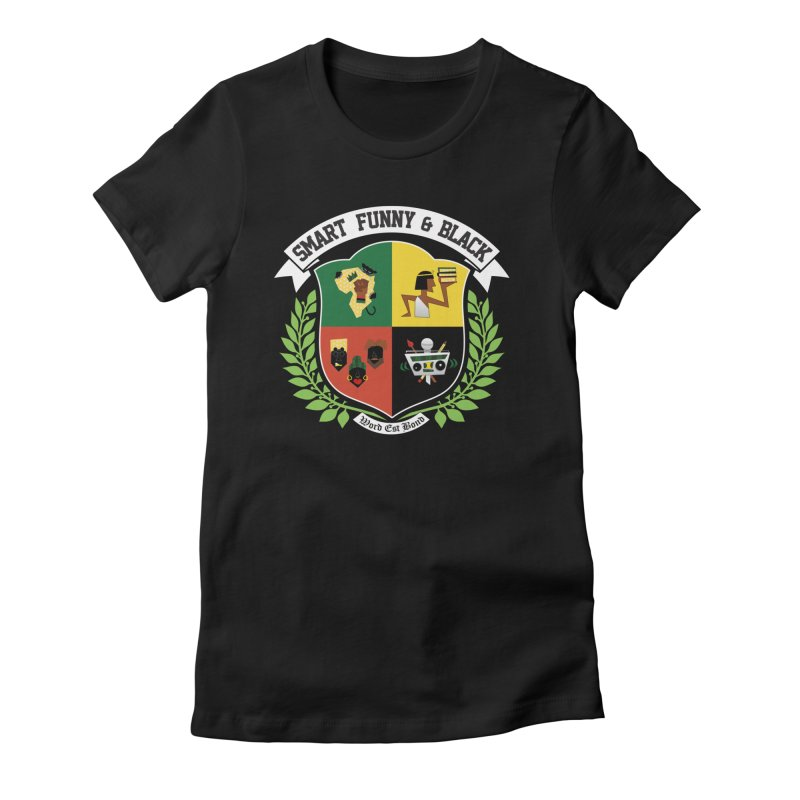 SFB CREST (White Ink) in Women's Fitted T-Shirt Black by Amanda Seales
