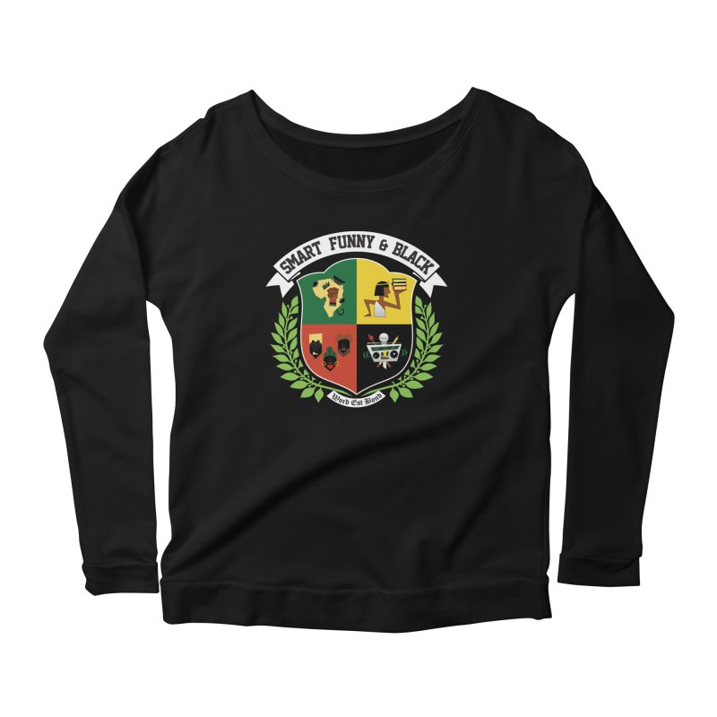 SFB CREST (White Ink) Women's Scoop Neck Longsleeve T-Shirt by amandaseales's Artist Shop