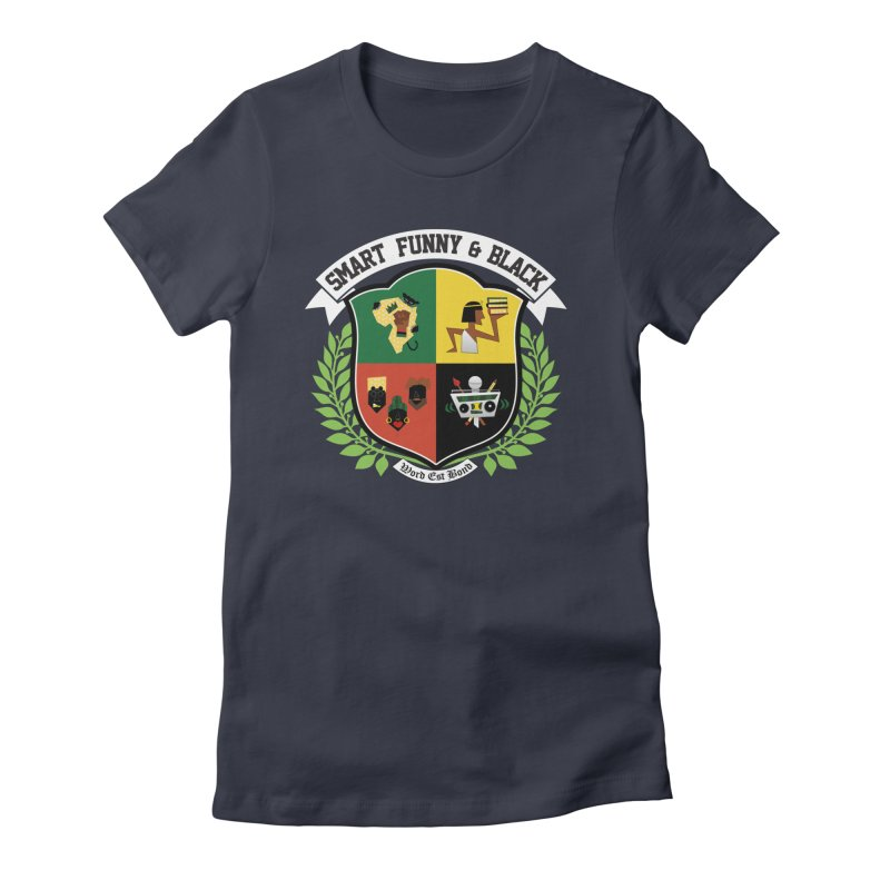 SFB CREST (White Ink) Women's Fitted T-Shirt by amandaseales's Artist Shop