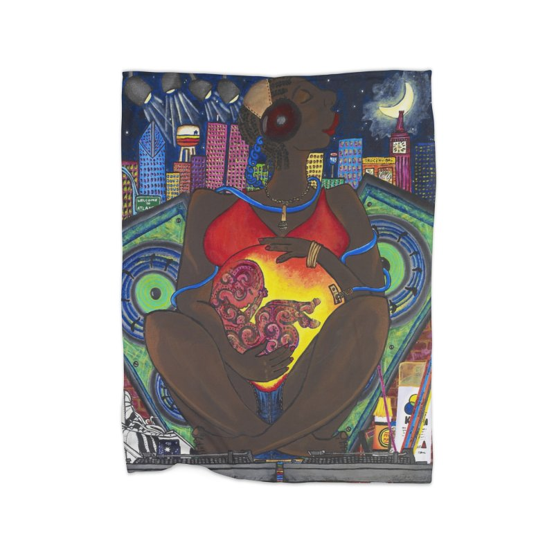 From the Womb to the Boom 1 Home Fleece Blanket Blanket by Amanda Seales