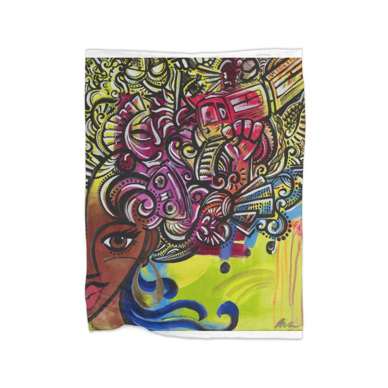Afro Series 1 Home Fleece Blanket Blanket by Amanda Seales
